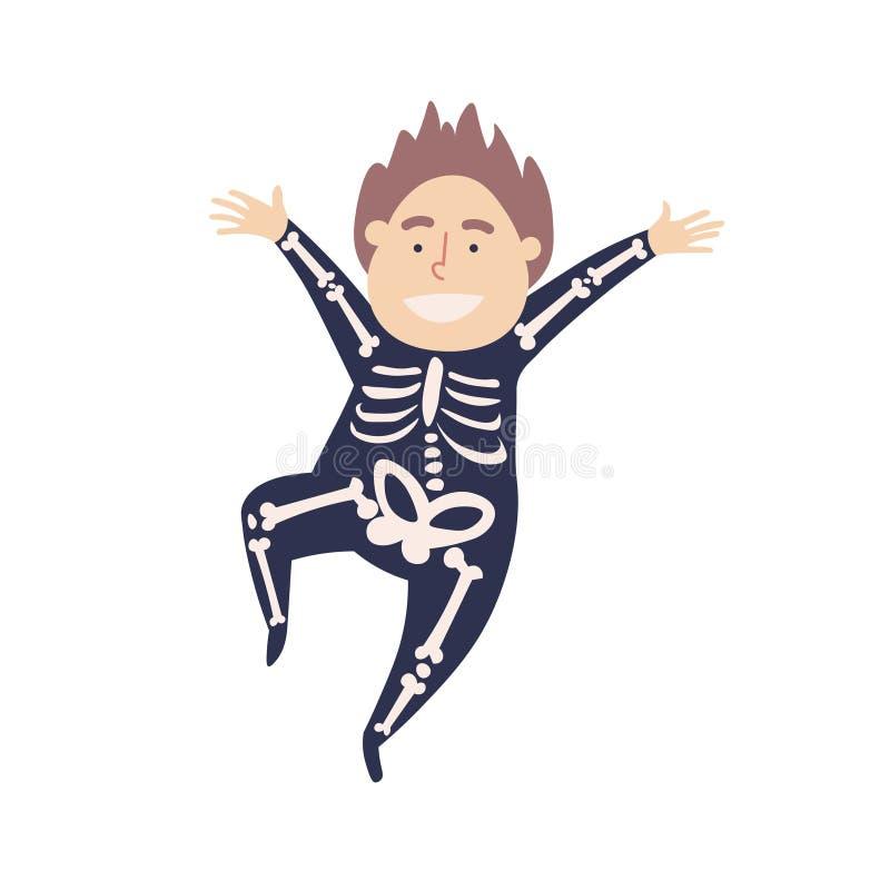 Um traje bonito de Dia das Bruxas Um menino em um salto de esqueleto do terno ilustração do vetor