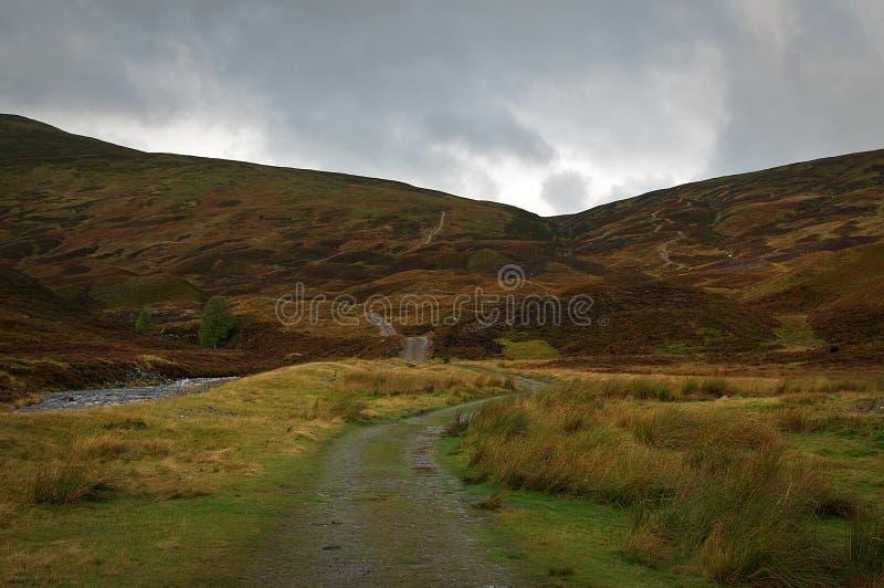 Um trajeto que conduz o lado de um munro em Escócia fotografia de stock royalty free
