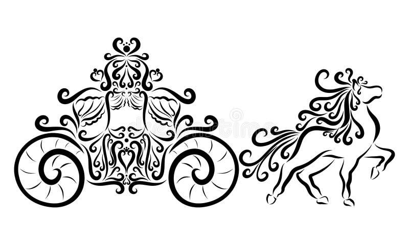 Um transporte bonito e um cavalo ilustração royalty free