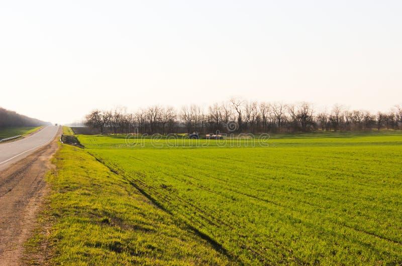 Um trator com a maquinaria agrícola arrastada que trabalha no campo foto de stock royalty free