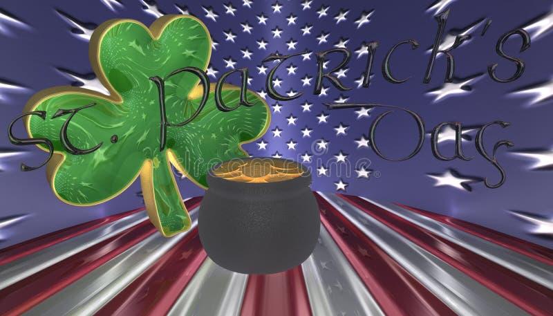 Um trevo com um potenciômetro de ouro Símbolos para o dia de Patricks de Saint isolado contra uma bandeira de América ilustração stock