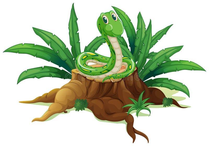 Um tronco com uma serpente verde ilustração do vetor