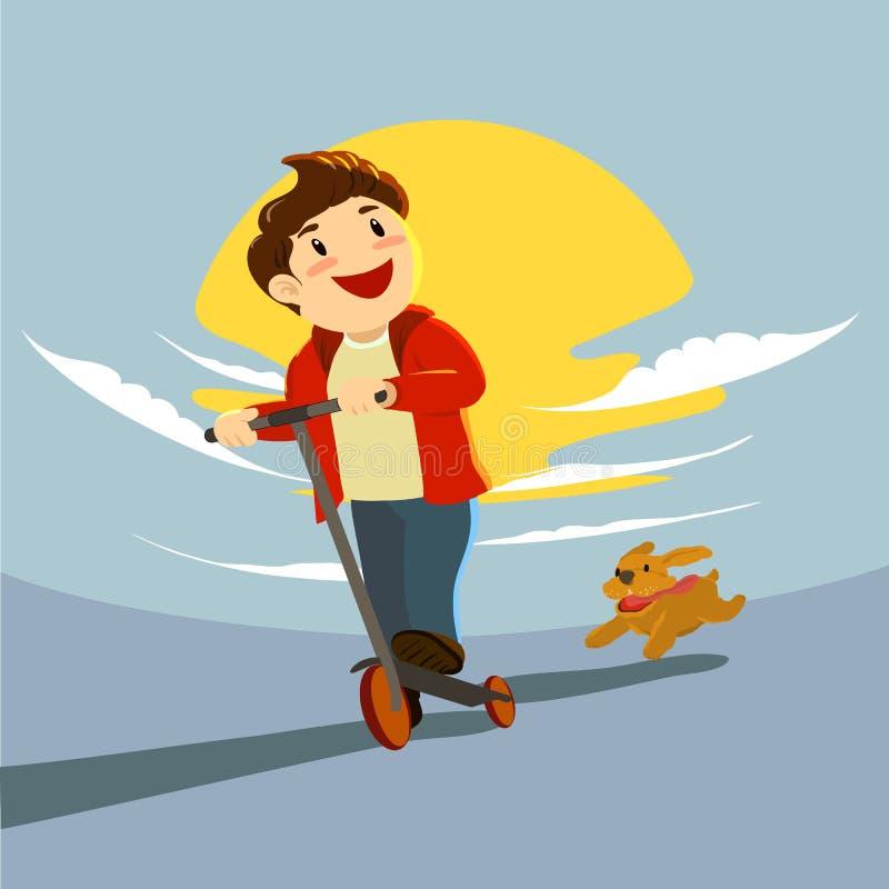 Um 'trotinette' da equitação do menino no por do sol e um cachorrinho marrom que corre após ele, apreciando a noite ilustração do vetor