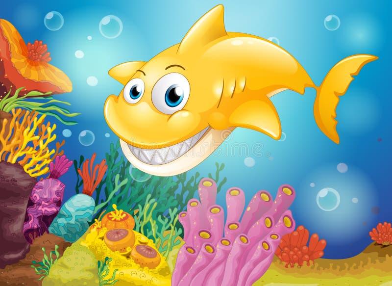 Um tubarão amarelo de sorriso sob o mar ilustração stock