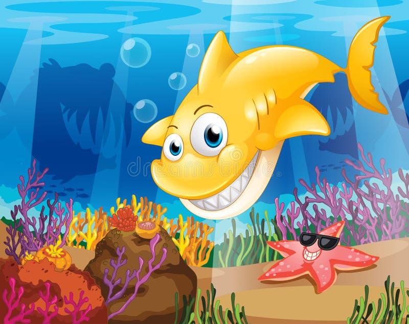Um tubarão amarelo sob o mar com estrela do mar e corais ilustração stock