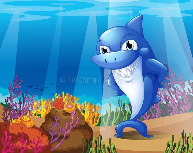 Um tubarão azul assustador sob o mar ilustração royalty free