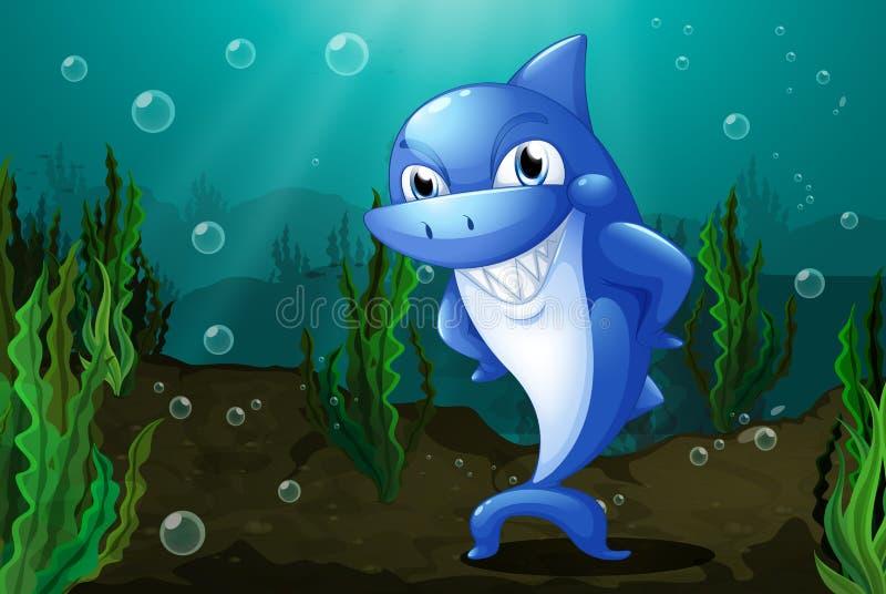 Um tubarão azul sob o mar ilustração do vetor