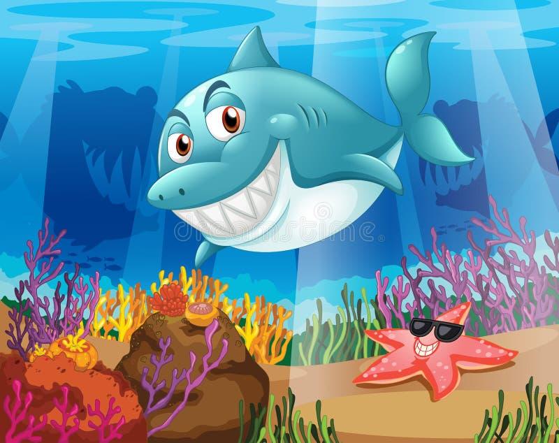 Um tubarão e uma estrela do mar sob a água ilustração do vetor