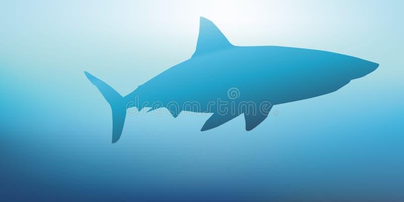 Um tubarão nada na superfície do oceano ilustração do vetor