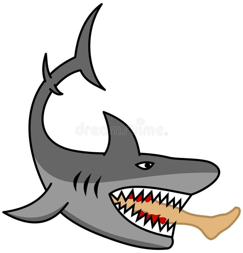 Um tubarão perigoso que come o pé de um homem ilustração royalty free