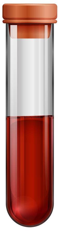 Um tubo de ensaio com uma amostra de sangue ilustração do vetor
