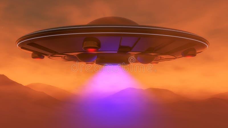 Um UFO paira sobre estraga ilustração royalty free