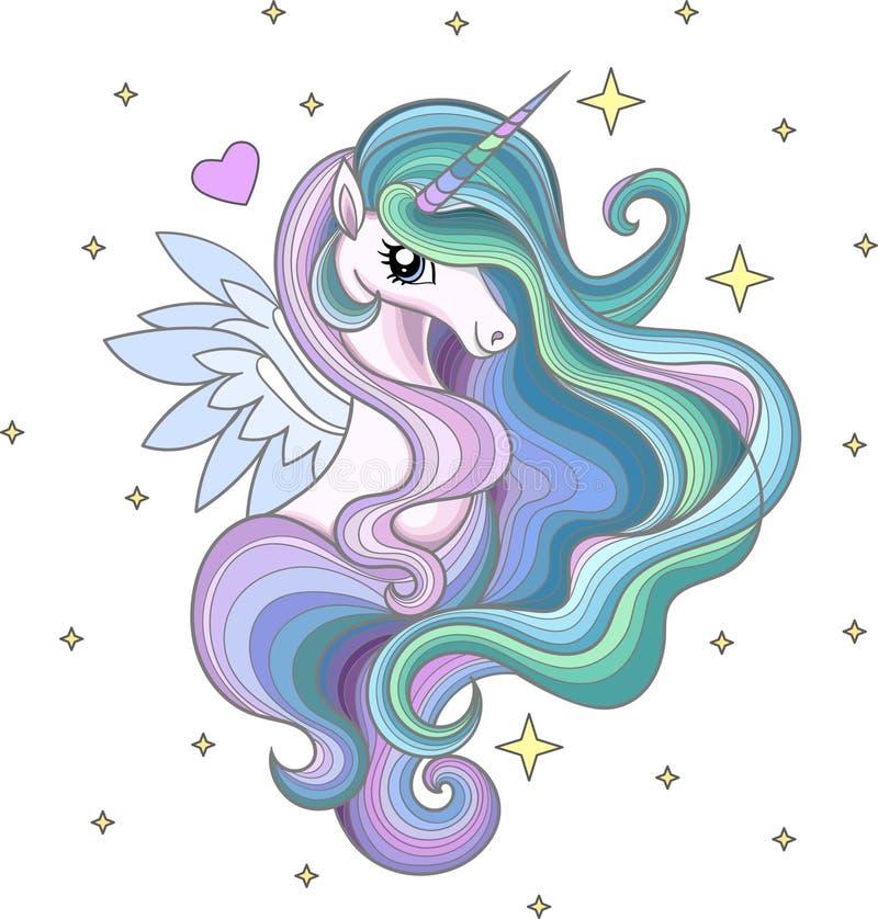 Um unicórnio bonito do arco-íris com uma juba longa entre as estrelas ilustração royalty free