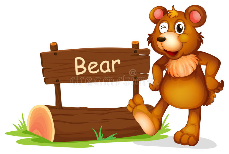 Um urso ao lado de uma placa do sinal ilustração royalty free
