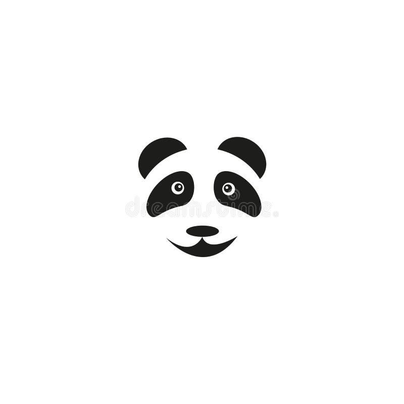 Um urso de panda principal bonito do bebê sorri em um fundo branco ilustração stock