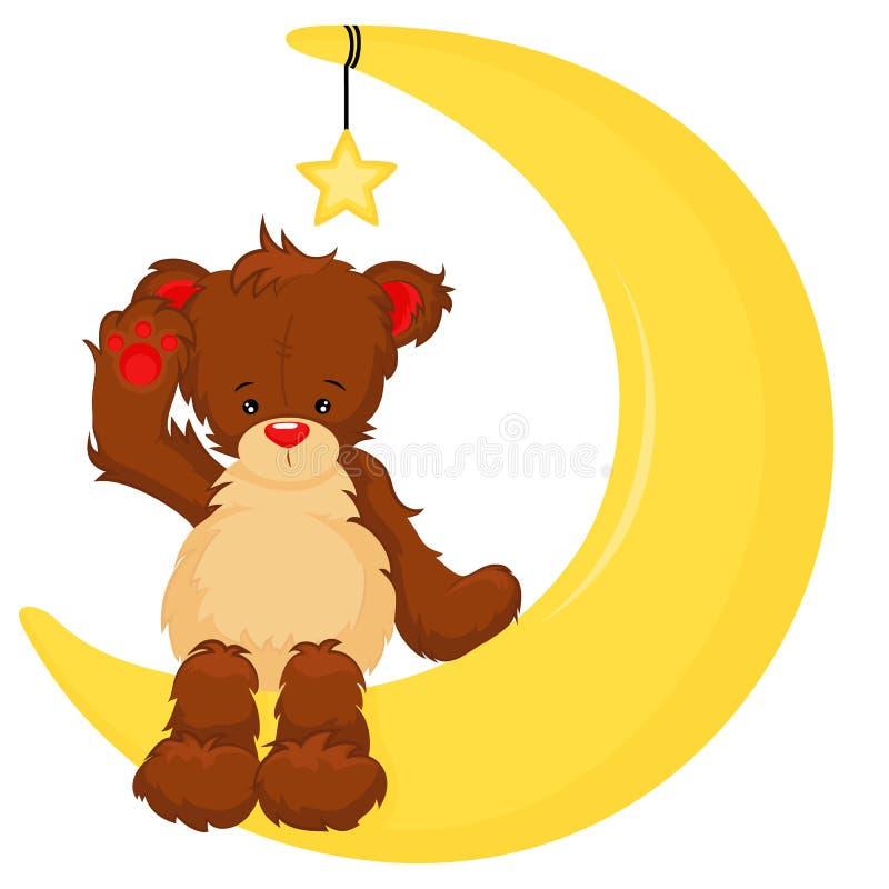 Um urso de peluche bonito que senta-se na lua ilustração stock