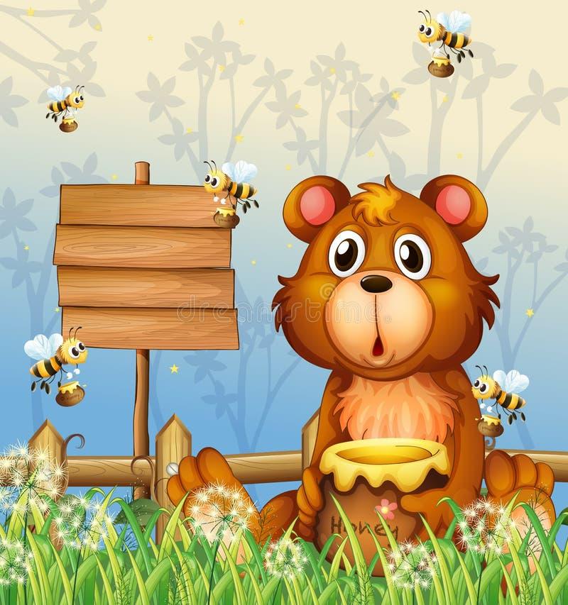 Um urso e abelhas perto de um signage ilustração do vetor