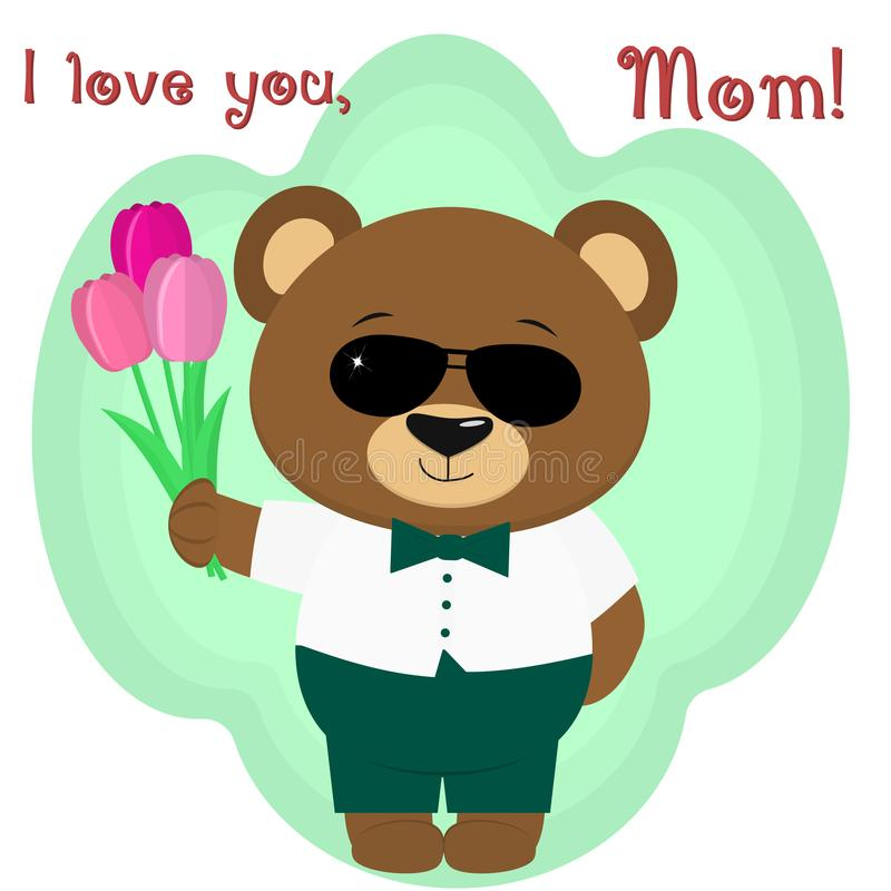Um urso marrom bonito guarda três tulipas Felicitações em seu dia do ` s da mãe, ao estilo dos desenhos animados ilustração do vetor