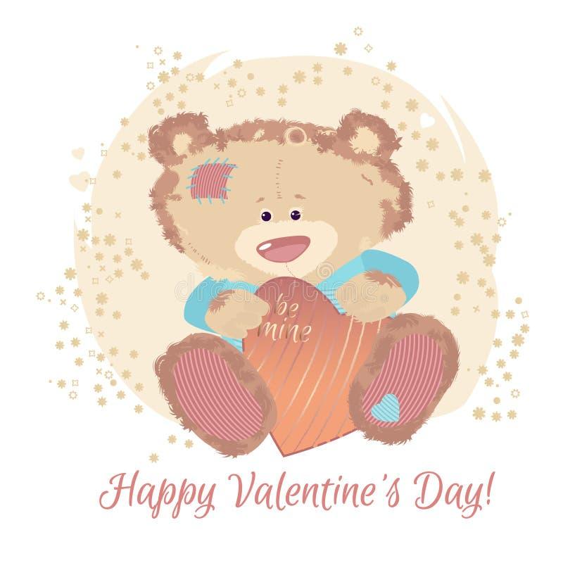 Um urso pequeno é um brinquedo O dia do ` s do Valentim é uma letra do feriado Os desenhos animados do coração e do urso e as ima ilustração royalty free