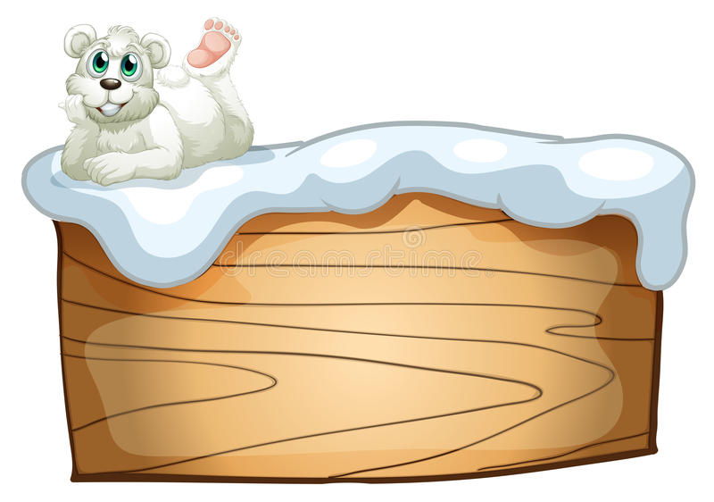 Um urso polar acima da placa de madeira vazia ilustração royalty free