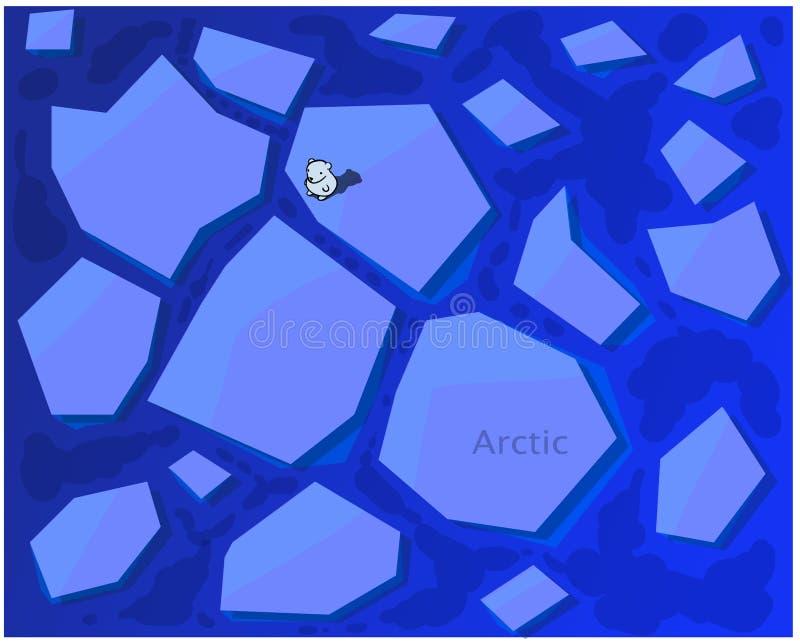 Um urso solitário está em uma grande banquisa de gelo no meio do ártico ilustração do vetor
