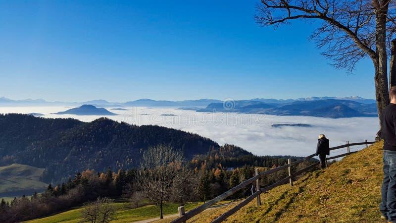 um vale é coberto com a névoa fotos de stock
