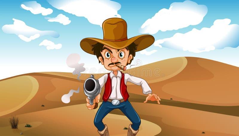 Um vaqueiro que fuma com uma arma no deserto ilustração do vetor