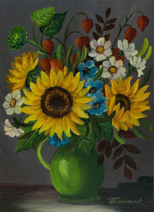 Um vaso verde com as flores coloridas diferentes ilustração do vetor