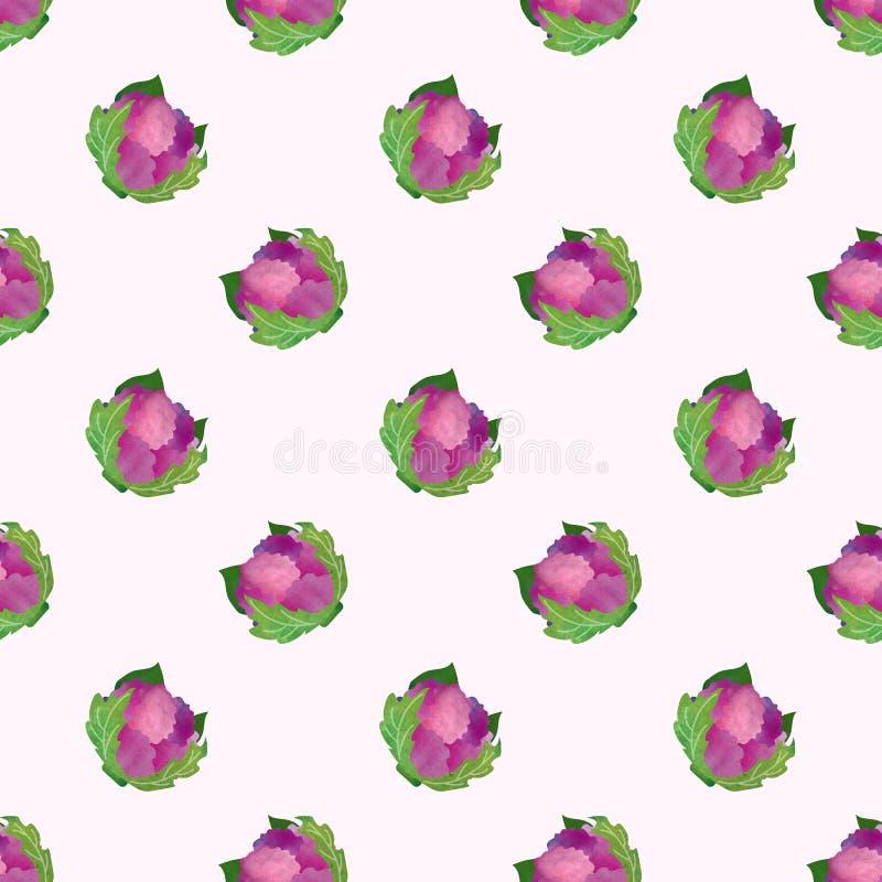 Um vegetal colorido sem emenda da textura da aquarela da imagem de fundo ilustração royalty free