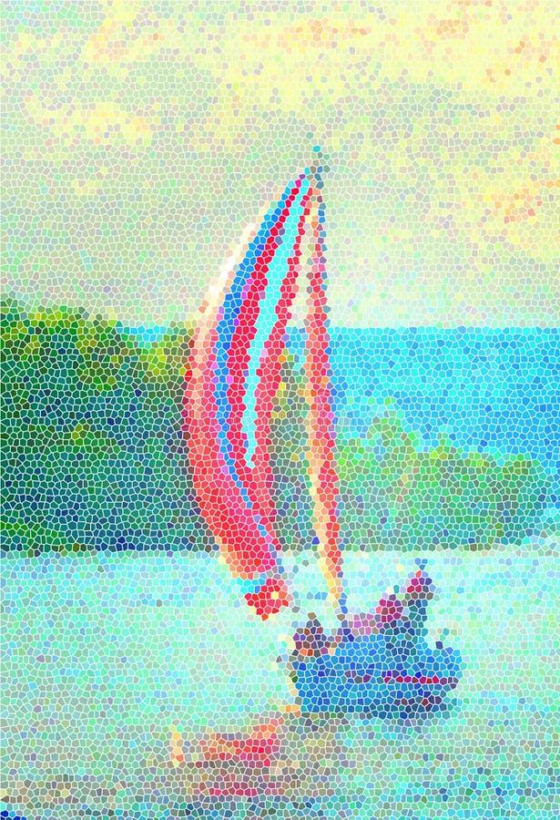 Um veleiro com velas vermelhas fotos de stock
