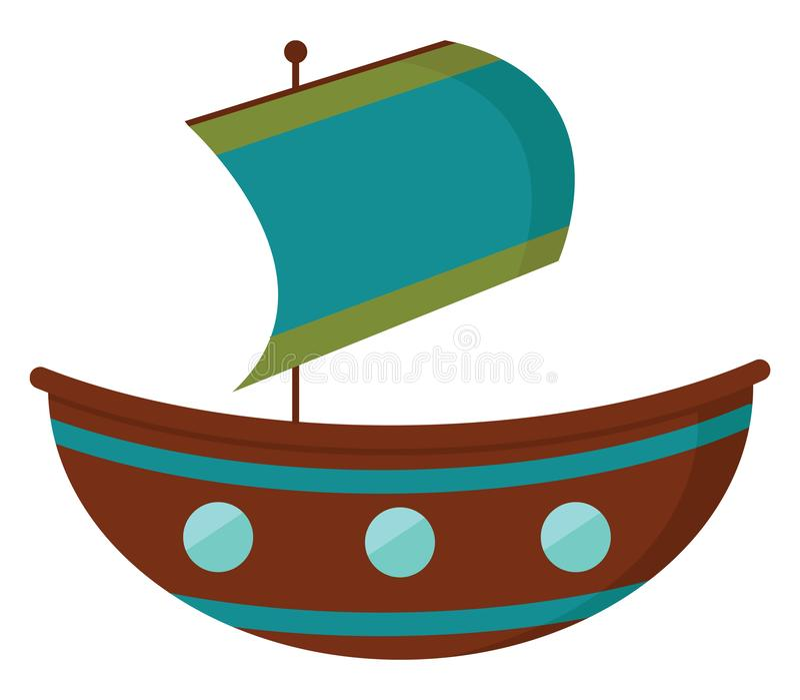 Um veleiro de cor castanha e uma bandeira azul içada com duas faixas verdes horizontais em seu vetor extremo ou ilustração colori ilustração stock