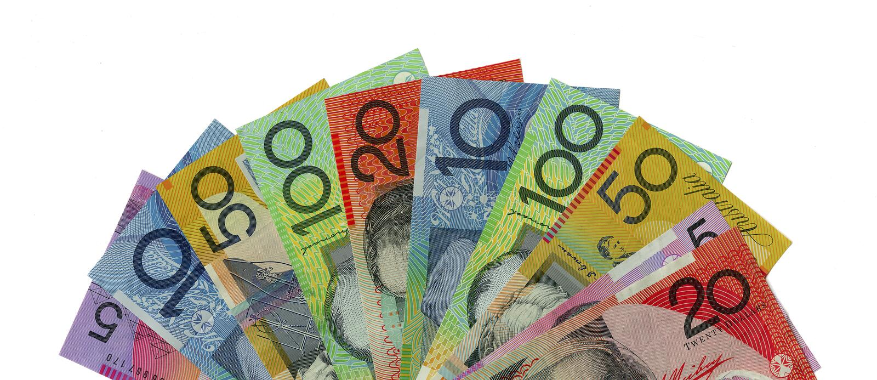 Um ventilador de notas de banco australianas foto de stock royalty free