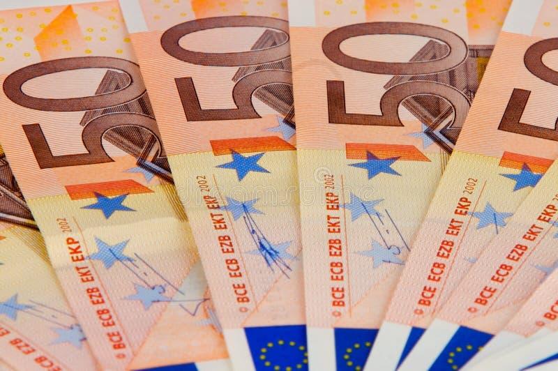 Um ventilador do banco do euro 50 foto de stock