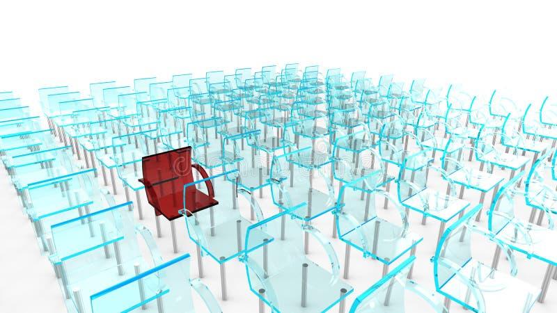 Um vermelho de muitas cadeiras ilustração stock