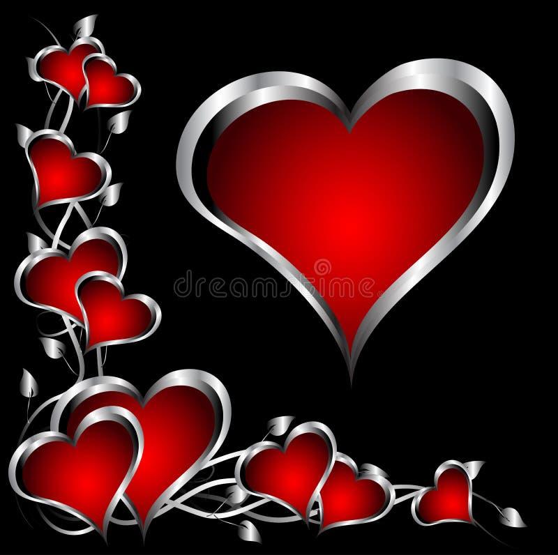 Um vermelho e um fundo do dia dos Valentim dos corações da prata ilustração royalty free