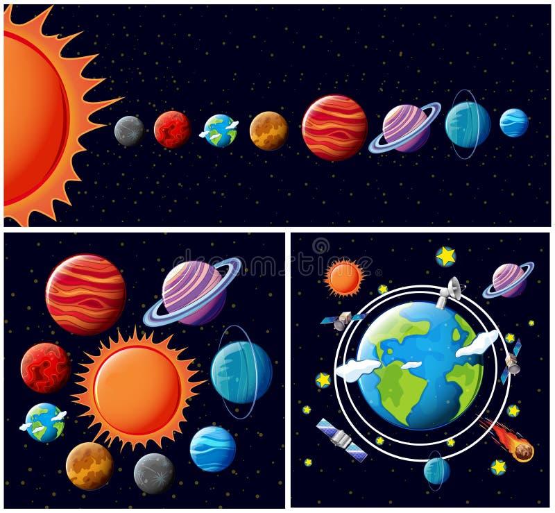 Um vetor do sistema solar ilustração royalty free