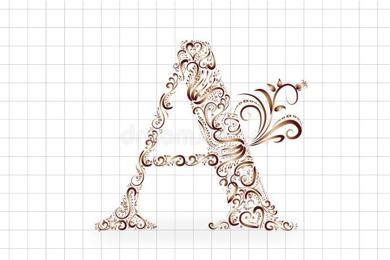 Um vetor floral do ícone do vintage do ouro da letra ilustração stock