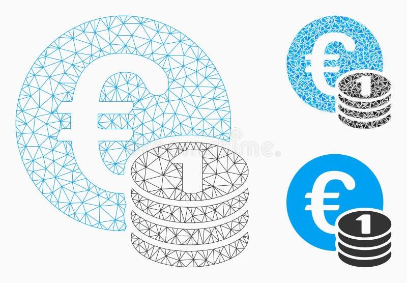 Um vetor Mesh Wire Frame Model da pilha da moeda do Euro e ícone do mosaico do triângulo ilustração royalty free