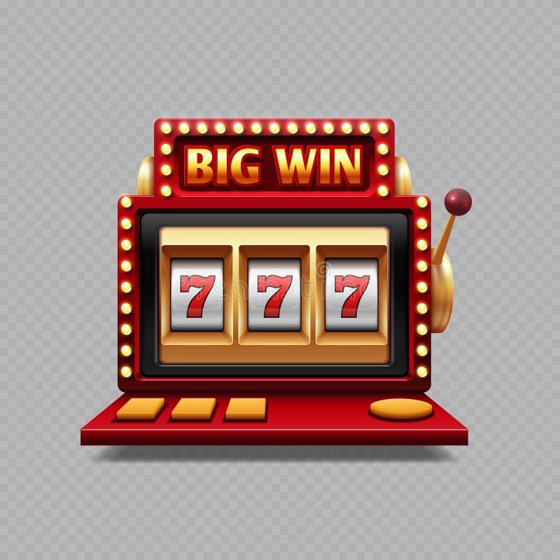 Um vetor realístico do bandido do braço - casino do entalhe do jackpot ilustração do vetor