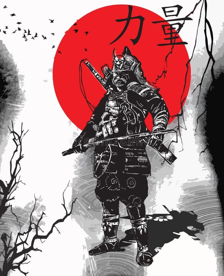 Um vetor tirado mão da cultura de Japão - samurai, Shogun ilustração stock