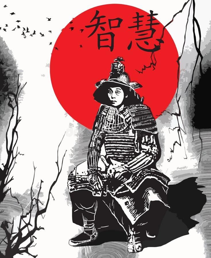 Um vetor tirado mão da cultura de Japão - samurai, Shogun ilustração royalty free
