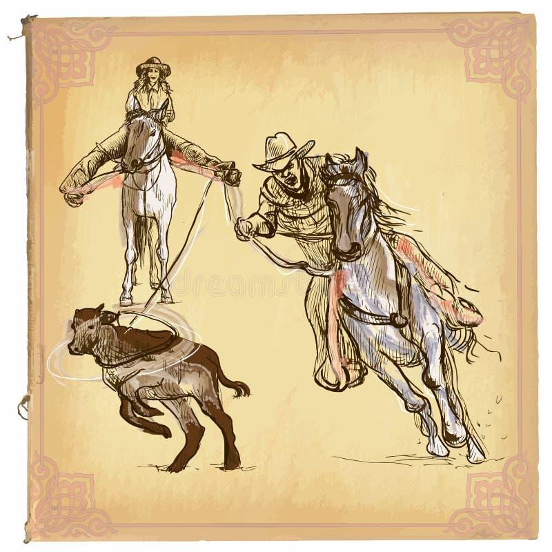 Um vetor tirado mão, linha arte colorida - rodeio ilustração stock