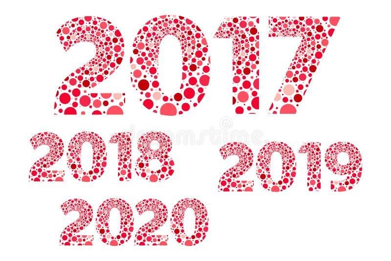 um vetor vermelho e cor-de-rosa de 2017 2018 2019 2020 anos novos felizes das bolhas isolou o símbolo ilustração do vetor