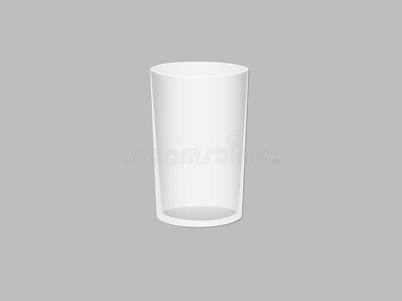 Um vidro branco vazio no cinza ou no fundo preto claro ilustração do vetor