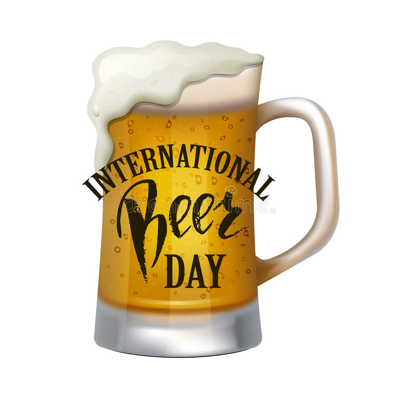 Um vidro da cerveja Rotulação internacional do dia da cerveja Ilustração do vetor ilustração royalty free