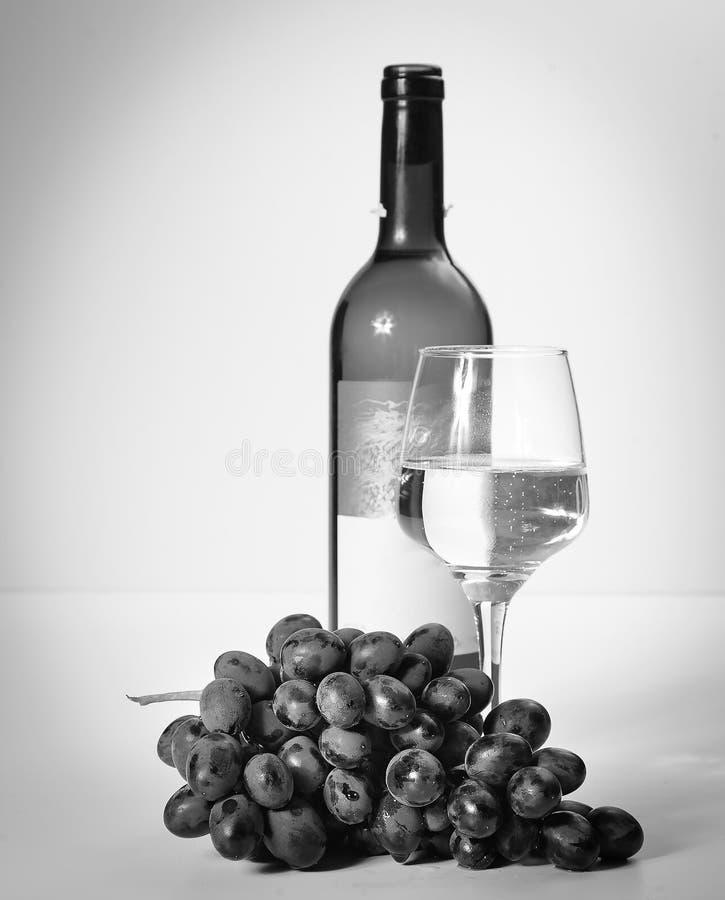 Um vidro do vinho branco, um grupo de uvas, uma garrafa aberta fotos de stock
