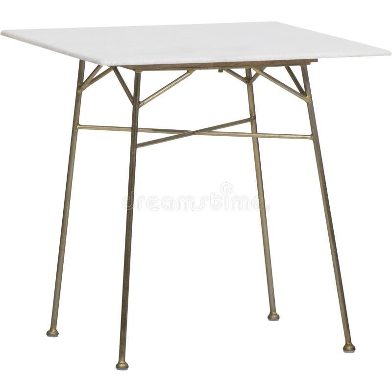 Um vidro do vintage e uma mesa de centro redondas do perspex, mesa de centro branca com parte superior de vidro, mesa de centro d fotos de stock royalty free
