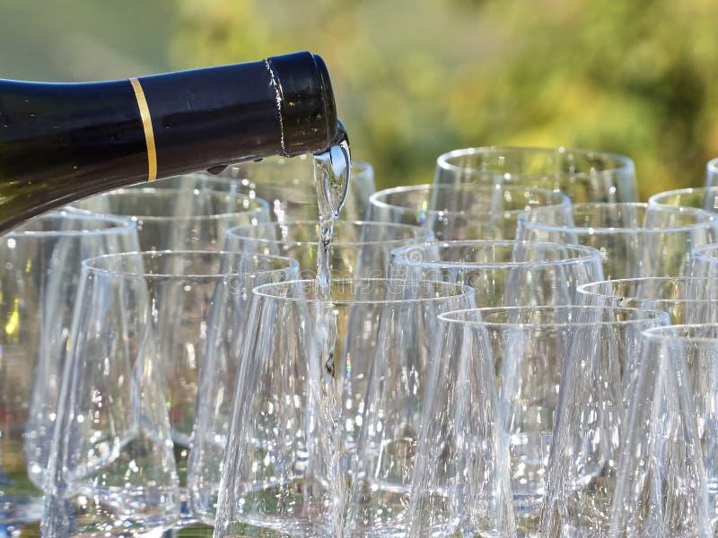 Um vinho de derramamento da garrafa em alguns vidros com o país de Langhe fotos de stock