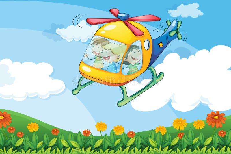Um voo do helicóptero com crianças ilustração do vetor