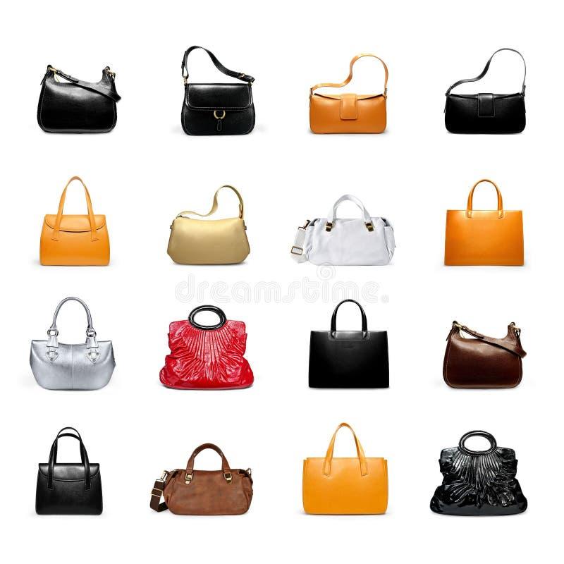 Um woman' bolsa de s em uma variedade branca fotografia de stock